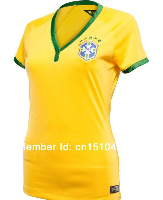 Newest 2014 brazil women soccer jersey free shipping hot sale thailand quality embroidred logo 2014 brazil jersey women $30.99