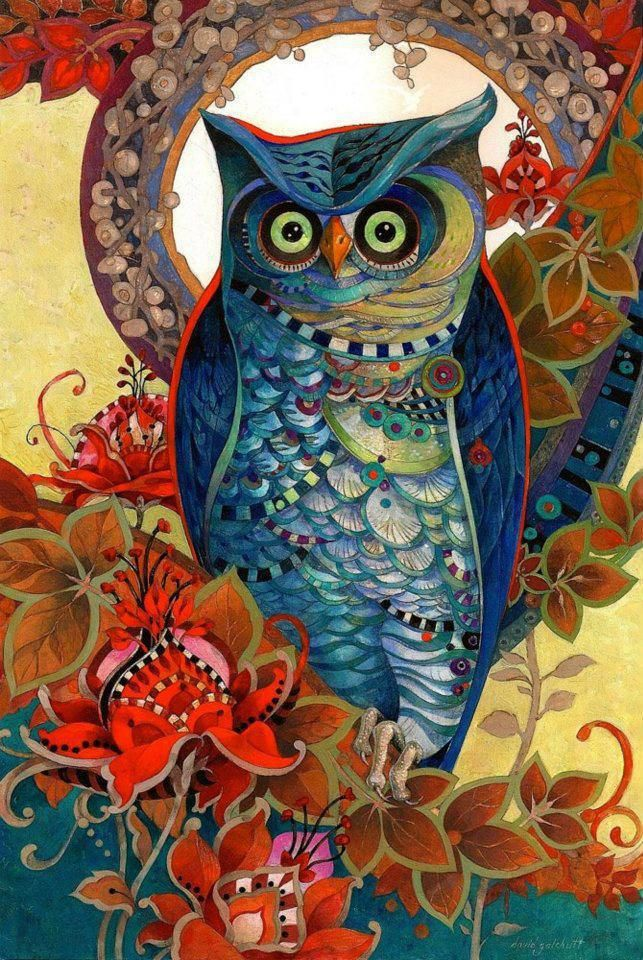 Coruja, símbolo da sabedoria.  Autor: desconhecido: Tattoo Ideas, Oil Paintings, Color Palettes, Art Paintings, Davidgalchutt, Owl Art, Vibrant Color, Digital Art, David Galchutt