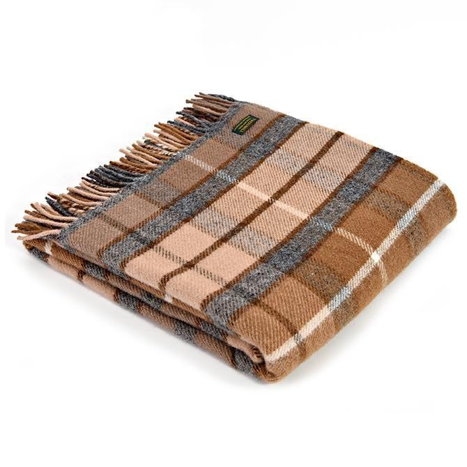 Tweedmill British Made 100% Wool Blanket - Vicuna/Grey Check