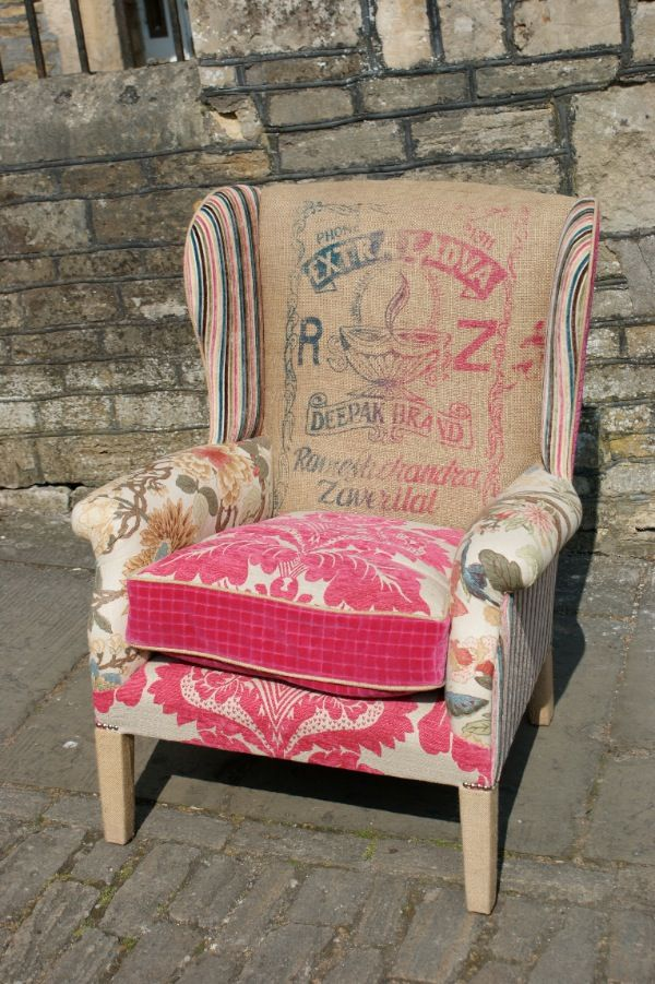 Patchwork chair....I need this in my art area :-) #ReupholsterChair