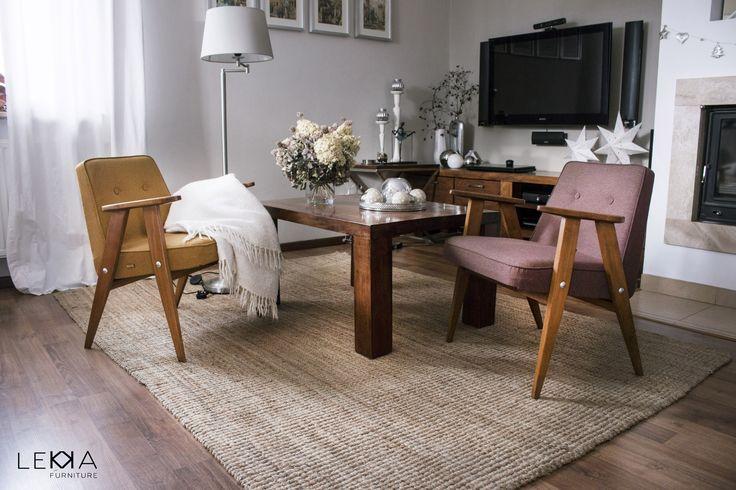 Fotel proj. J. Chierowski typ: 366. Data produkcji: 1962 r. Wnętrze. Armchiar designed by J.Chierowski. Midcentury design. Interior . Retro interior