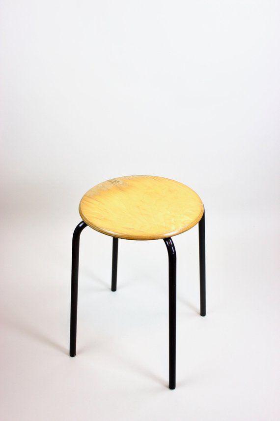 Vintage Hocker Hocker Holz Werkstatt Kuche Bad Industriedesign Mid Century Coffee Table Decor Table