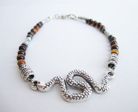 Men's snake bracelet men's tiger eye bracelet by Bravemenjewelry