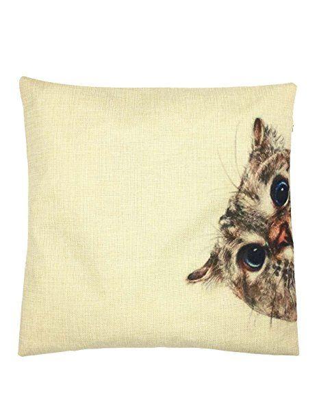 YOUR SMILE Cat Cotton Linen Square Decorative Throw Pillow Case Cushion Cover 18x18 Inch(44CM44CM) (Color#0)