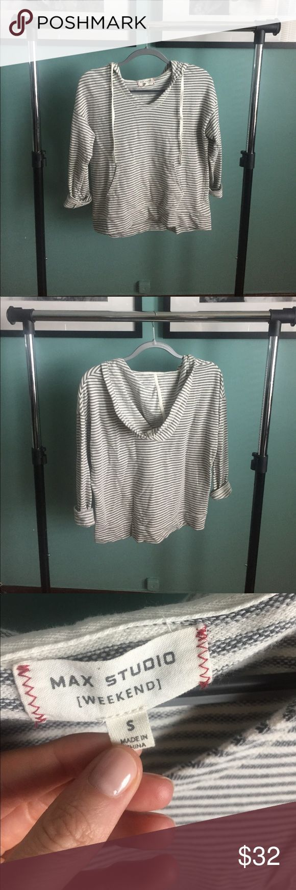 Max Studio Striped Hoodie   Size S So so cute and comfy! Love this one! EUC. Max Studio Tops Sweatshirts & Hoodies