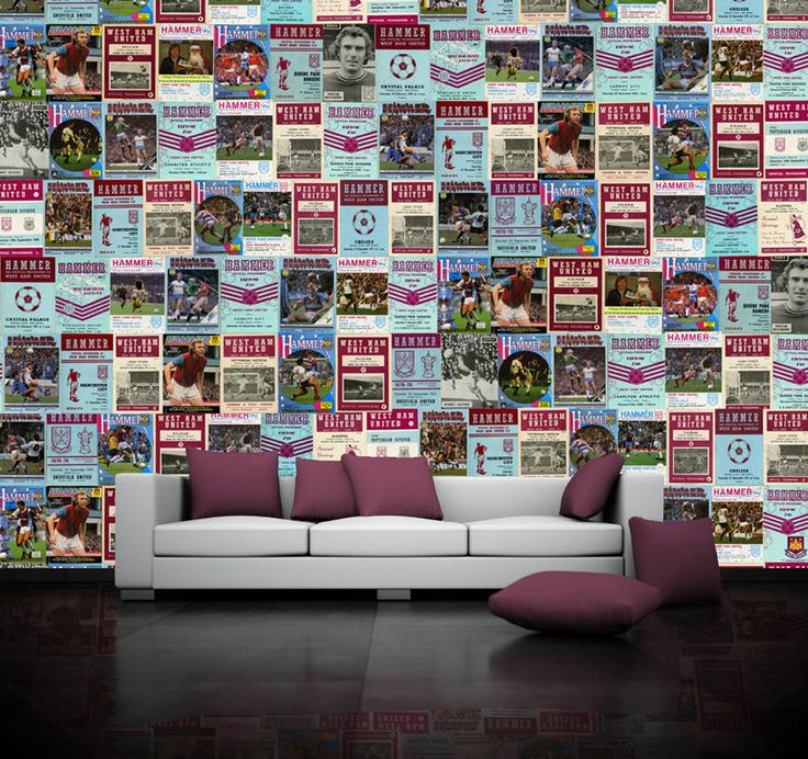 West Ham United vintage home football programmes used to create bespoke sports wallpaper at sportswalls.co.uk. upload your own images for a truly unique mural.