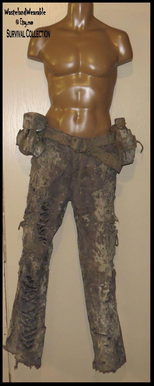Post Apocalyptic PANTS Fallout Pants MENS Pants Mad Max Pants Size 33X34  dark GRAY Pants Zombie Pants Wasteland Pants by WastelandWearable by WastelandWearable on Etsy