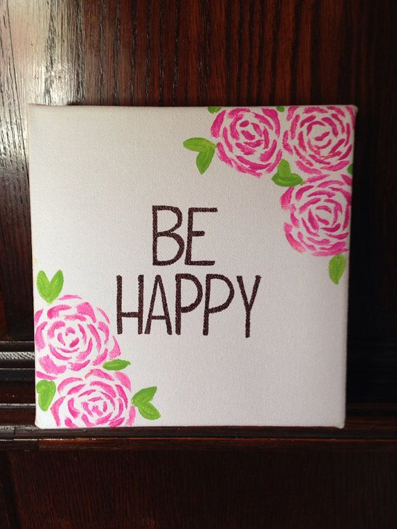Be Happy Canvas Quote Canvas Painting Happyplaque