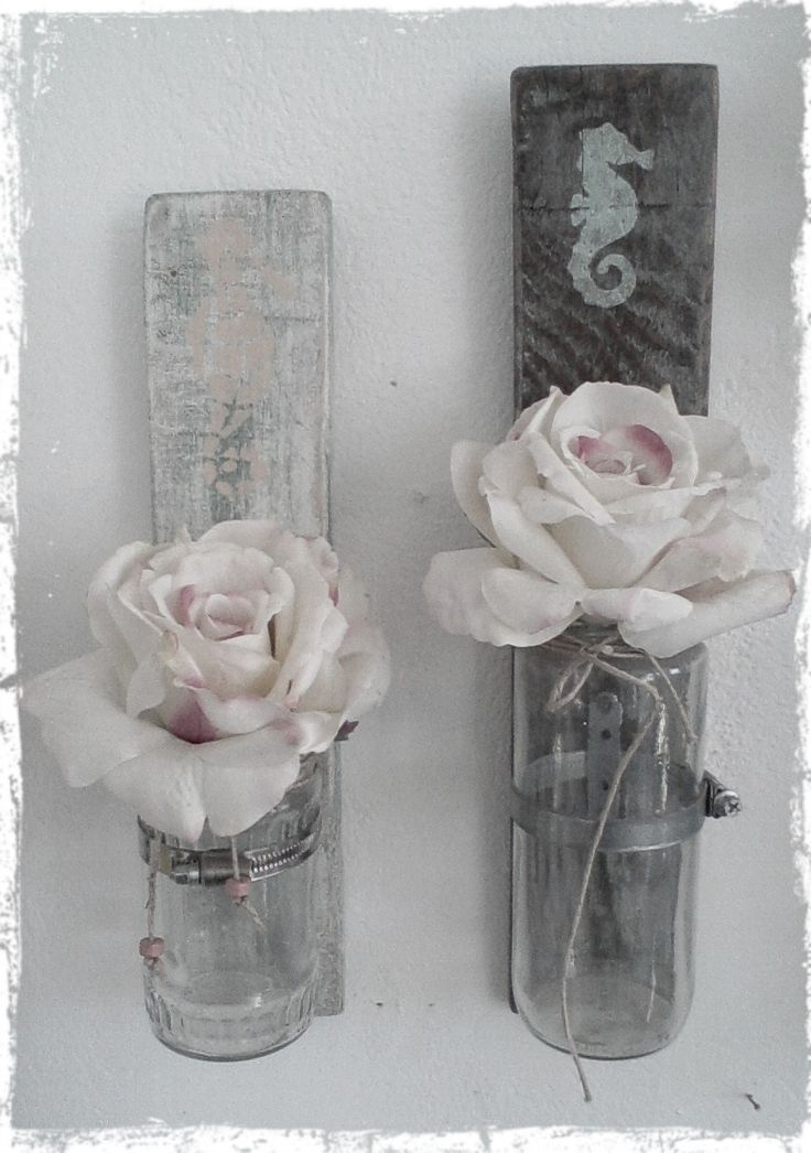 Have aa great April! (nautical wall flower vases from recycled wood, hand painted)
