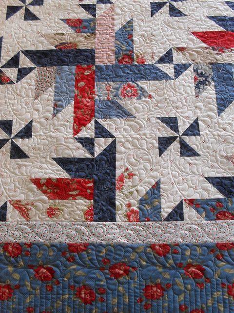 Pattern is State of Grace by Cozy Quilt. It's in their book, Strip Clubbing. Fabric is Minick and Simpson Prarie Paisley.: Quilting Ideas, Blue Quilt, Jessica S Quilting, Scrappy Quilt, Prairie Paisley, Patriotic Quilts, Quilt Pattern, Color Combination