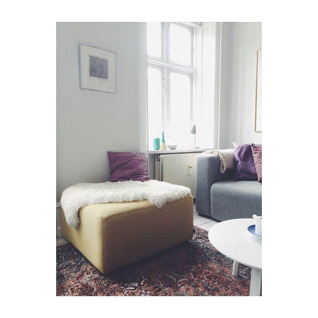 Love my new yellow ottoman from @haydesign @jansvensson3 @mettehjorthay ✨. #carolineseverydaydelights_myhome @kvadrattextiles #hay #design #kvadrat #yellow #livingroom #boligmagasinet