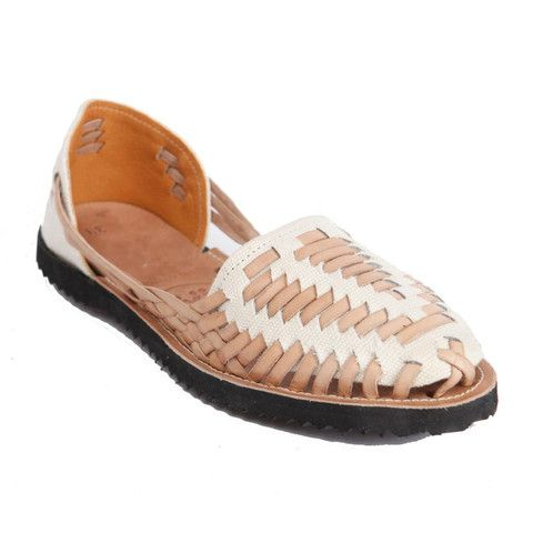 Cream Woven Leather Huarache Sandals by Ix. Each pair purchased donates money to providing fresh water to Guatemalan children
