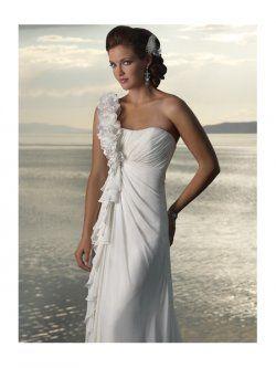 Gaine une épaule avec des robes de mariage de train de balayage de plage