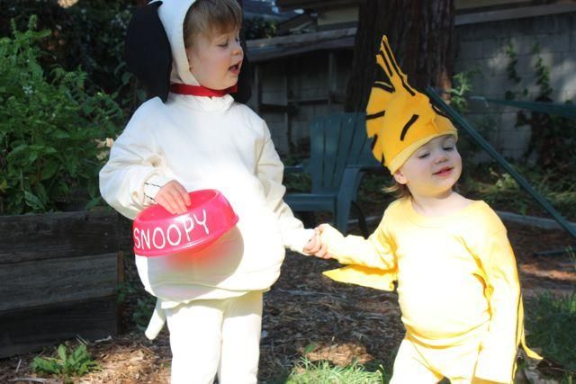 Thinking of having the boys go as Snoopy and Woodstock for Halloween....Here's one idea