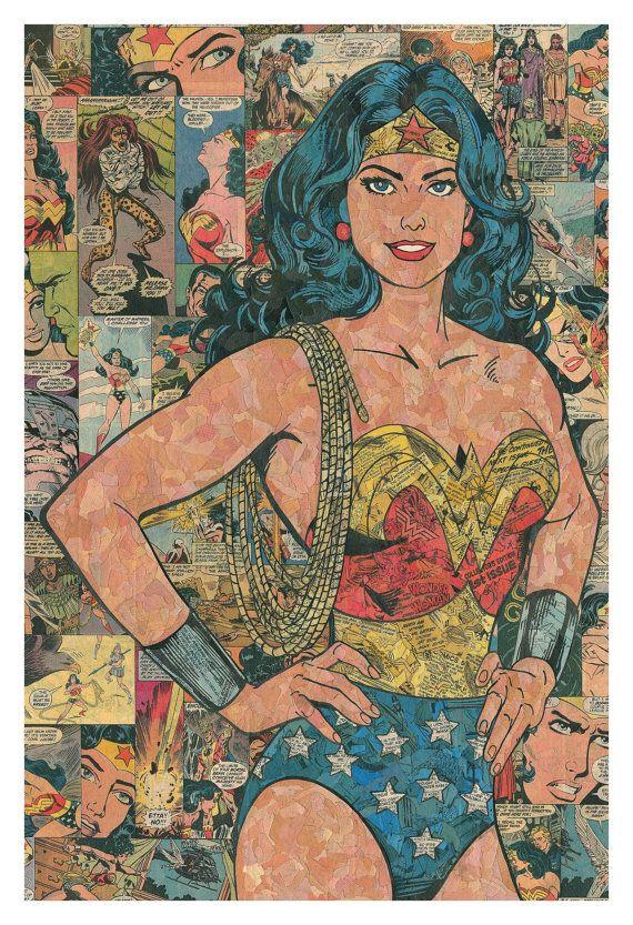Maravilla mujer Collage Comic impresión por ComicReliefOriginals
