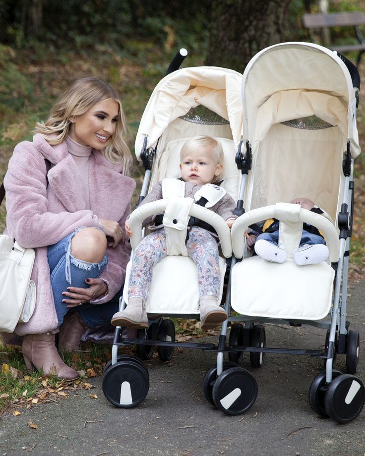 "The My Babiie Billie Faiers MB22 Twin Stroller in Cream Chevron is super stylish, comfortable, manoeuvrable and jam-packed with features. When you have places to go & things to do then this is a real super star with handy storage baskets, extendable 3 position hood and cup holder, it has all the features you will need. MB22's are suitable from birth with an easy one handed full ""lay-flat"" recline. The perfect combination of practicality, usability and comfort."