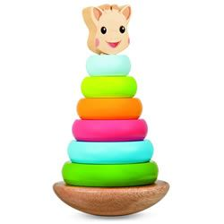 A Sophie the Giraffe stacking game! Stack the 6 colourful rings on the swiveling, rocking base and top them with the smiling Sophie head! Children learn colour matching and shape recognition and improve hand-eye coordination as they stack the colourful rings and rock Sophie back and forth! Get it!: http://www.mastermindtoys.com/Janod-Sophie-the-Giraffe-Wooden-Stacker-and-Rocker.aspx