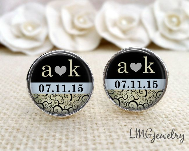 Custom Cufflinks, Groom Cufflinks, Wedding Cufflinks, Custom Groom Cufflinks, Gift for Groom, Initial Cufflinks, Heart and Date Cufflinks by LMGjewelry on Etsy