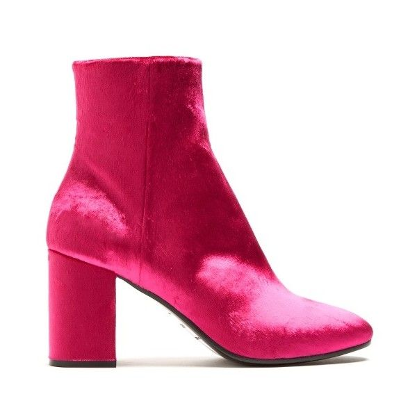 Balenciaga Ville velvet bootie ($905) ❤ liked on Polyvore featuring shoes, boots, ankle booties, pink, pink ankle boots, balenciaga boots, ankle bootie boots, block heel ankle boots and velvet boots
