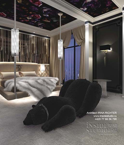 Интерьер спальни в готическом стиле. Дизайн проект интерьера. Архитектор дизайнер Ирина Рихтер INSIDE-STUDIO Prague