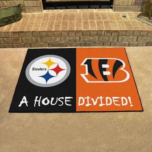 "Pittsburgh Steelers - Cincinnati Bengals House Divided All Star Area Rug Floor Mat 34"""" x 45"""""