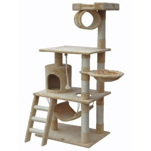 Cat Treehouse Condo Kitty Furniture Tree Towers Scratching Posts Climbing Claws | eBay