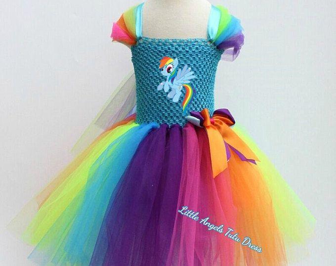 Arco iris NUEVO Dash mi Little Pony Tutu vestido, hecho a mano disfraz, vestido de MLP, vestido de arco iris, vestido de fiesta de cumpleaños, tutú de la MLP