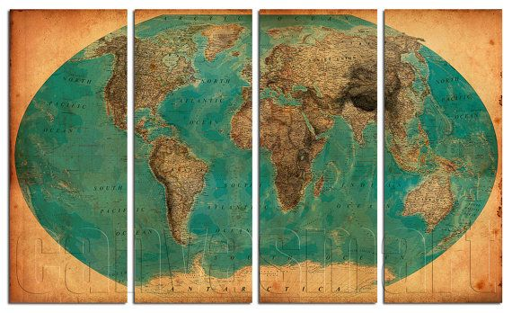 Geographic Vintage World Map 1938 Diptych Triptych Multi Panel