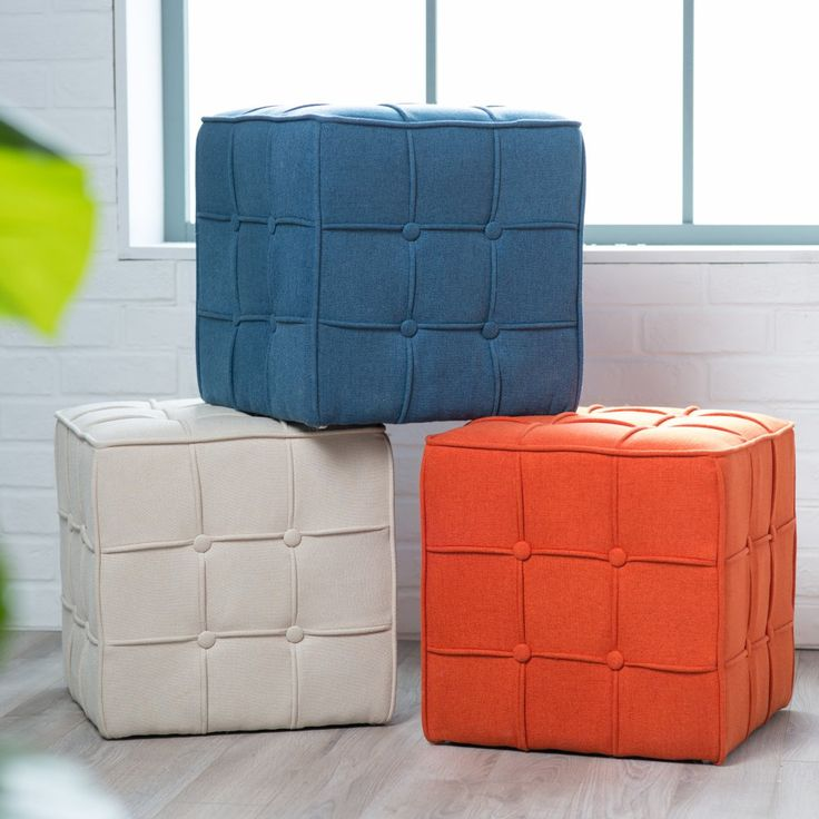 Belham Living Pilar Tufted Square Ottoman - Add a pop of color to any room you wish with the Belham Living Pilar Tufted Square Ottoman . Choose from three fun, bold color selections and watch as...
