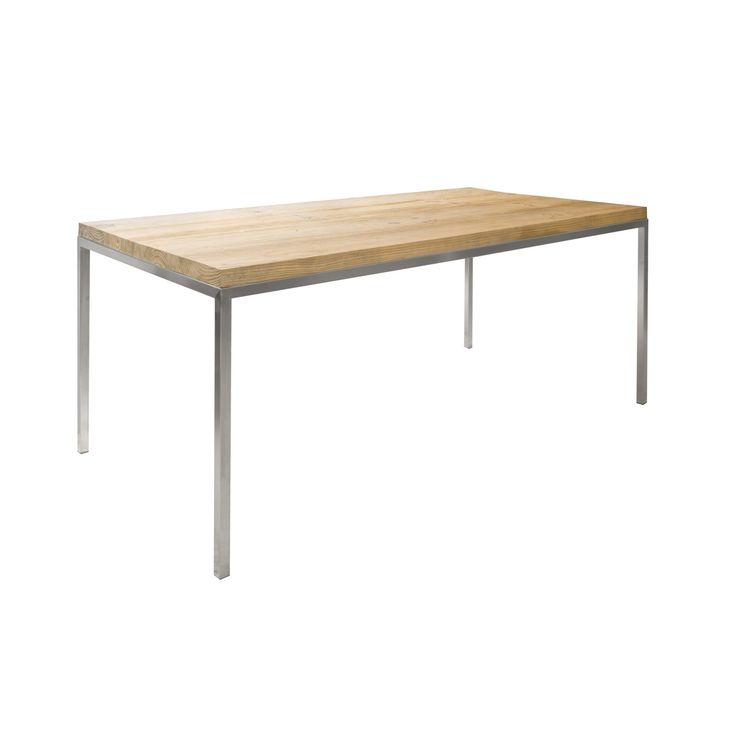 Table solid sealed oak top on brushed stainless steel frame
