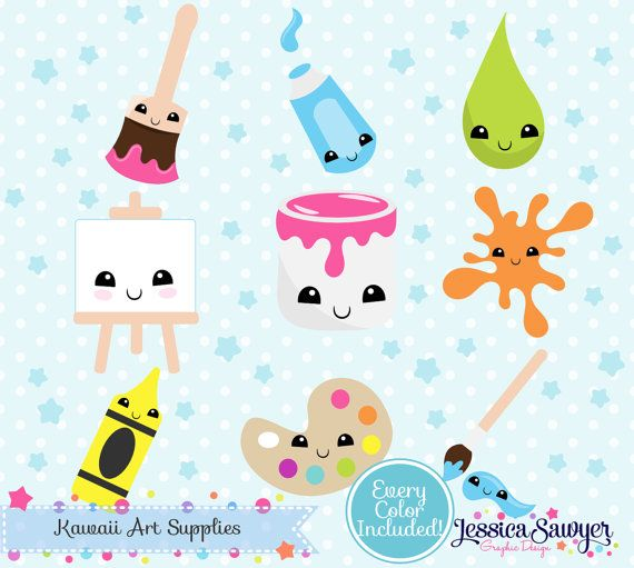 Instant Download Kawaii Art Clipart And Vectors For Planner Stickers And Crafts Kawaii Art Clip Art Kawaii Clipart