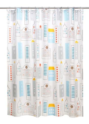 DwellStudio Kids Shower Curtain Skyline Light Blue
