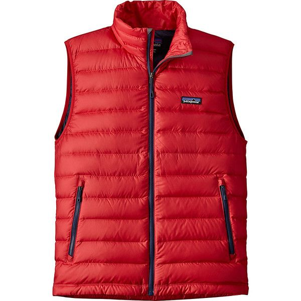 Patagonia Mens Down Sweater Vest - S - Fire - Outerwear ($179) ❤ liked on Polyvore featuring men's fashion, men's clothing, men's outerwear, men's vests, red, patagonia mens vest, mens zipper sweater vest, mens zipper vest and mens zip sweater vest