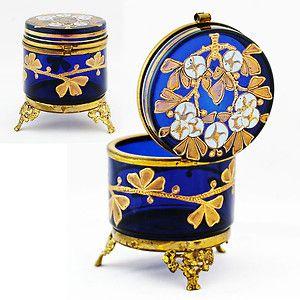ANTIQUE MOSER BOHEMIAN ROYAL BLUE ENAMELED ART GLASS HINGED JEWELRY TRINKET BOX   eBay