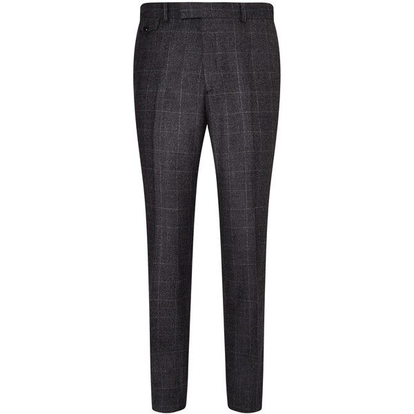 Ted Baker Maltez Melange Windowpane Regular Fit Suit Trousers, Grey ❤ liked on Polyvore featuring men and ted baker