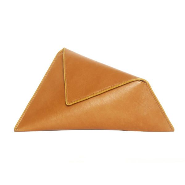 Large Tabac Asymmetric Clutch Bag by Georgina