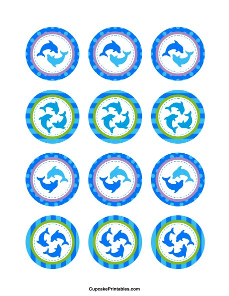 Dolphin cupcake toppers. Use the circles for cupcakes, party favor tags, and more. Free printable PDF download at http://cupcakeprintables.com/toppers/dolphin-cupcake-toppers/