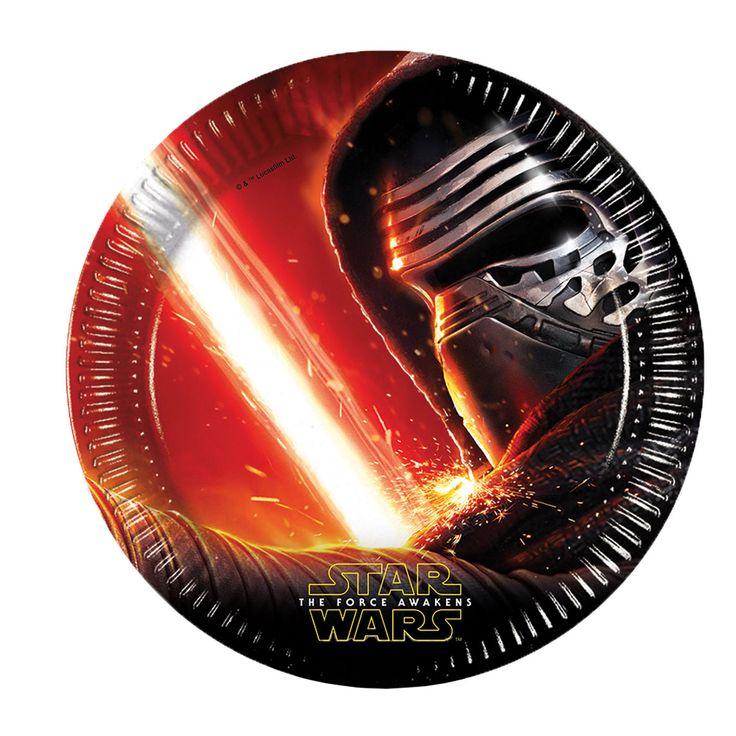 Creëer een extra stoer kinderfeestje met de Star Wars Borden, 8 stuks. Ieder bord is bedekt met een coole foto van Star Wars 'The Force Awakens'. Ieder bord is van papier gemaakt. Combineer de bordjes met de Star Wars bekers, servetten, tafelkleden, vlaggenlijn, uitnodigingen en uitdeelzakjes om de ultieme Star Wars ervaring te creëren. Afmeting: Ø 23 cm - Star Wars Borden, 8st.