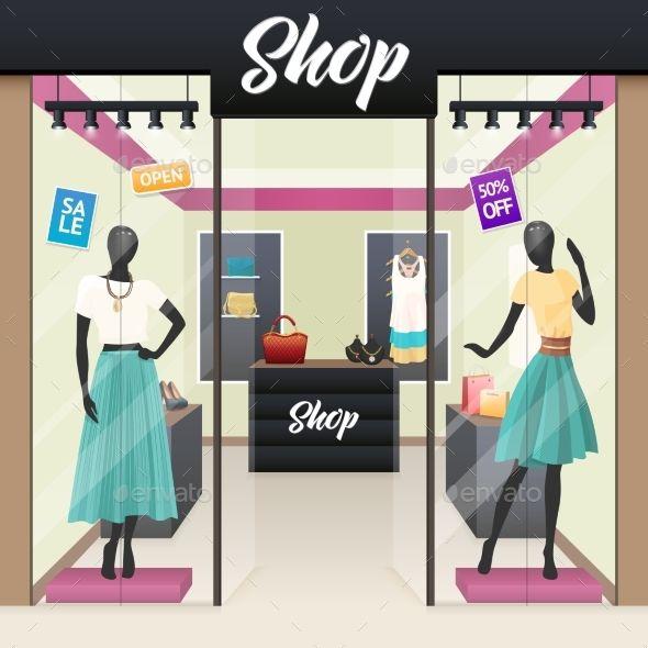 Women Fashion Shop Sale Window Display - Business Conceptual