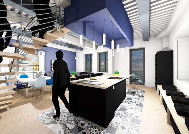 Variante de la cuisine bleue en noir mat : quelle version préférez-vous? Le plafond avec poutres à la française reste apparent avec les IPN de renfort visible.