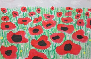 "Spot of Color: Perspective Poppies: draw a horizon line on light blue or light gray paper. Paint red ""lips"" starting at the bottom with the largest & ending at the horizon line with the smallest. When dry, add black center with black oil pastel.  Use light green and dark green oil pastes to draw grass & stems."