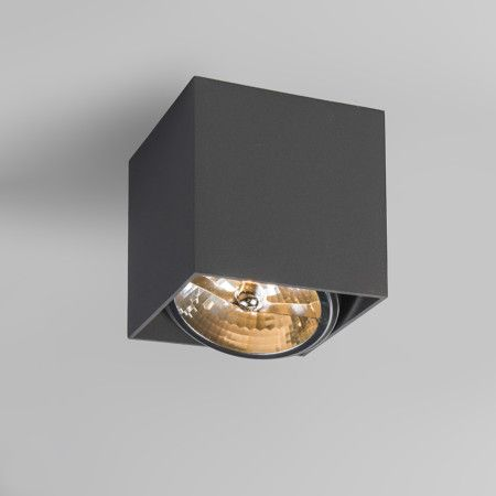Strahler Box 1 dunkelgrau Moderner Aufbaustrahler mit einer großen AR111-Lampe in quadratischer Form. Dieser Strahler ist Dreh- und Kippbar.  #Lampe #Light #einrichten #Innenbeleuchtung #wohnen #Leuchte #Strahler