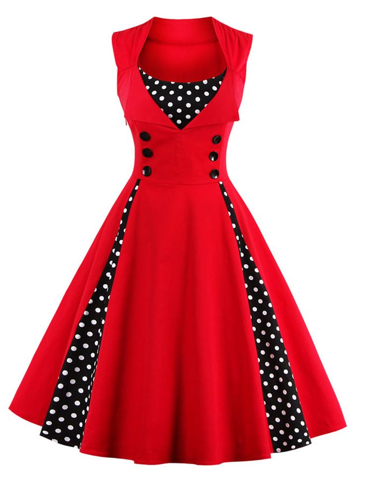 Retro Button Embellished Polka Dot Dress                                                                                                                                                                                 More