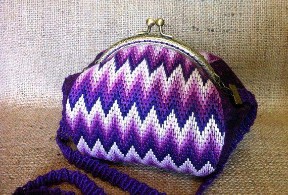 Embroidery Cotton Bag Purple Purse Frame Purse Handle Wedding