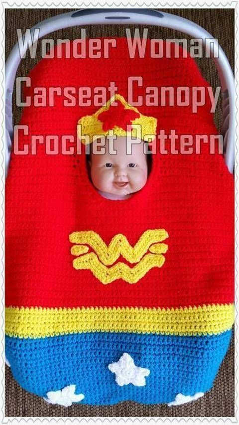 Wonder Woman Infant Car Seat Canopy Crochet Pattern at Makerist