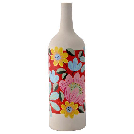 garrafa de ceramica pintada