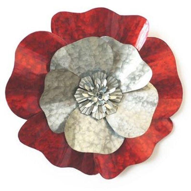 Décoration Murale Fleur Pétales Effet Marbré Métal Rouge Gris – Taille : Taille Unique