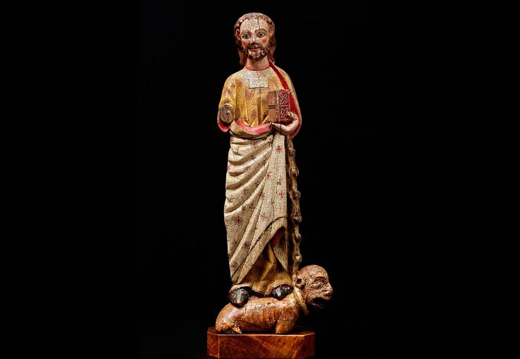 Evangelista San Marcos España. S. XIV – XV Madera tallada y policromada Alt. 70 cm