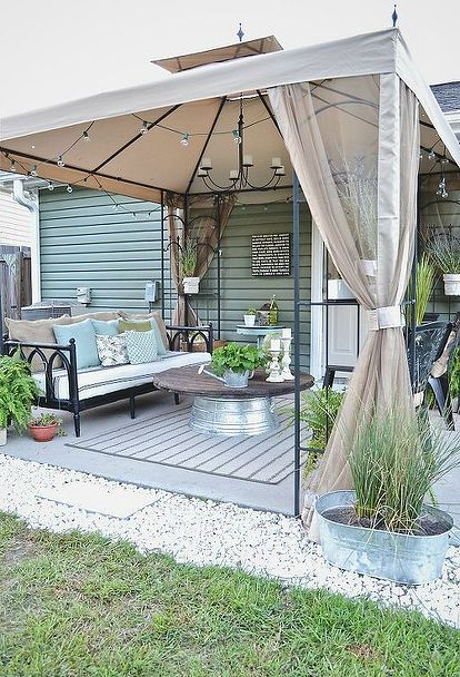 back patio makeover, outdoor furniture, outdoor living, painted furniture, patio, Now this space is a like another room in our home