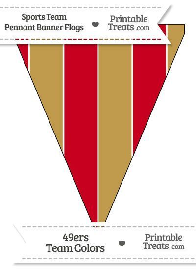 49ers Colors Pennant Banner Flag from PrintableTreats.com
